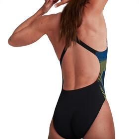 speedo Placement Powerback Swimsuit Women, negro/Multicolor
